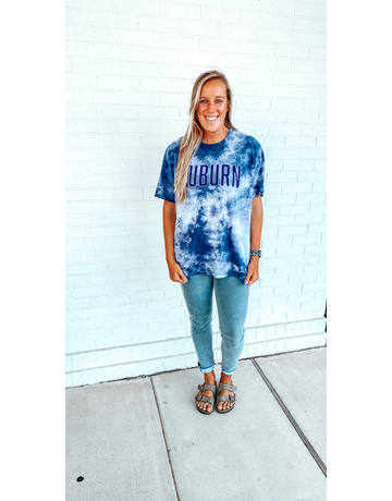 League Block Auburn Tie Dye T-Shirt