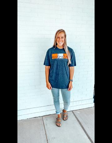 Script Auburn Tigers on Orange/White Blocks T-Shirt