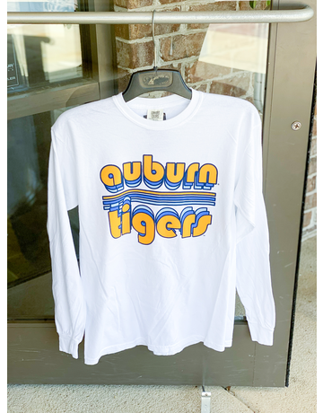 Bubble Auburn Tigers Retro Stripe Long Sleeve T-Shirt