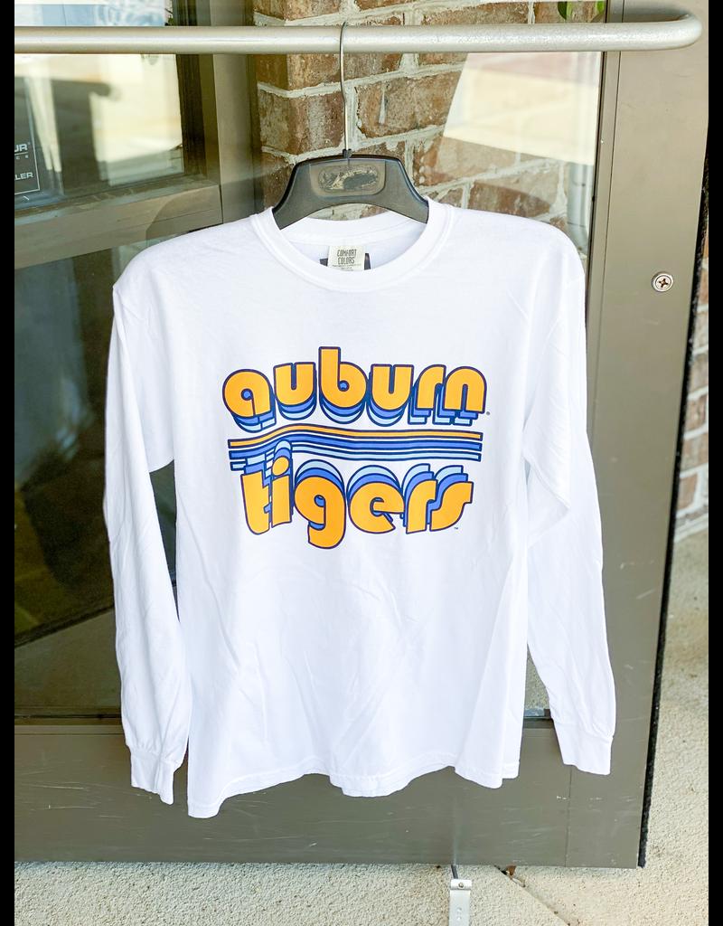 Bubble Auburn Tigers Retro Stripe Long Sleeve T-Shirt