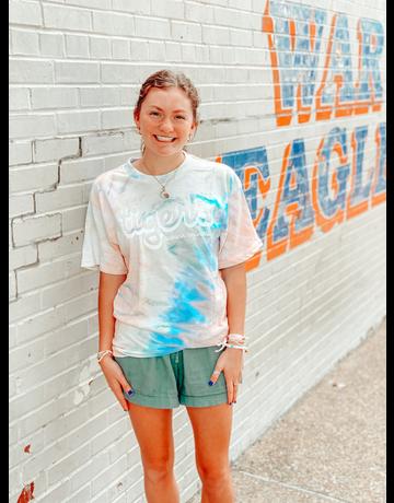 MV Sport Tigers Bubble Script Auburn University Tie-Dye T-Shirt