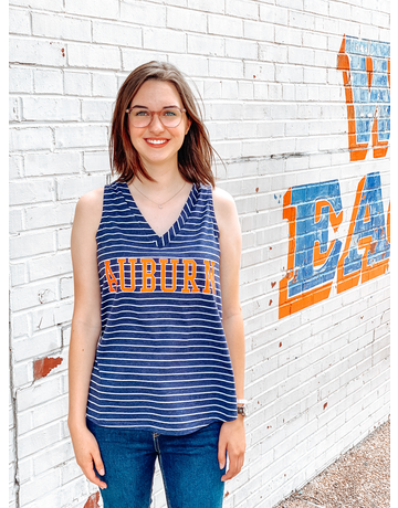 Block Auburn Striped Ladies Tank Top