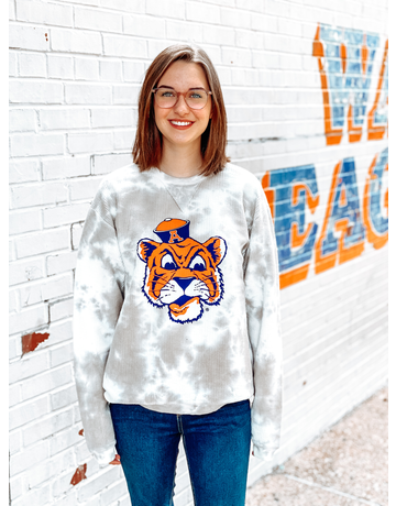 League Vintage Aubie Head Tie Dye Corded Crew