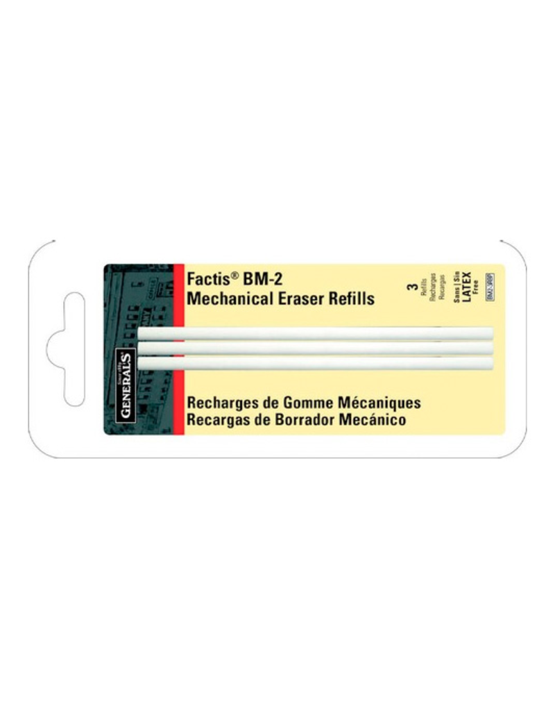 Factis Pen Style Eraser Refills, 3 Pieces, Carded