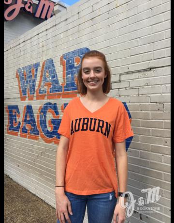 League Arch Auburn Triblend V-Neck Ladies T-Shirt