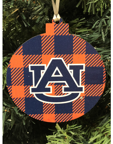 Wood Round Ornament AU with Navy/White Plaid