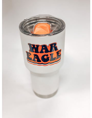 Retro Print War Eagle White 30 oz. Tumbler with Lid