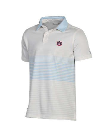Under Armour AU Youth Boys Striped Power Play Threadborne Polo