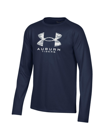 Under Armour Camo Under Armour Logo over Auburn Tigers Youth Long Sleeve Tech T-Shirt