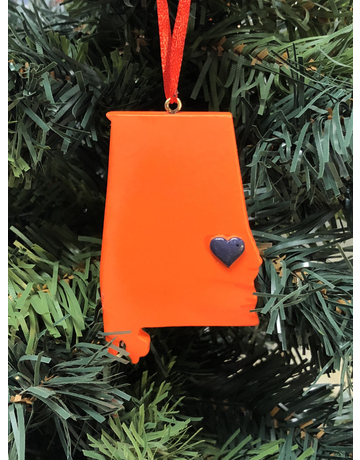 Orange State Auburn Heart Ornament