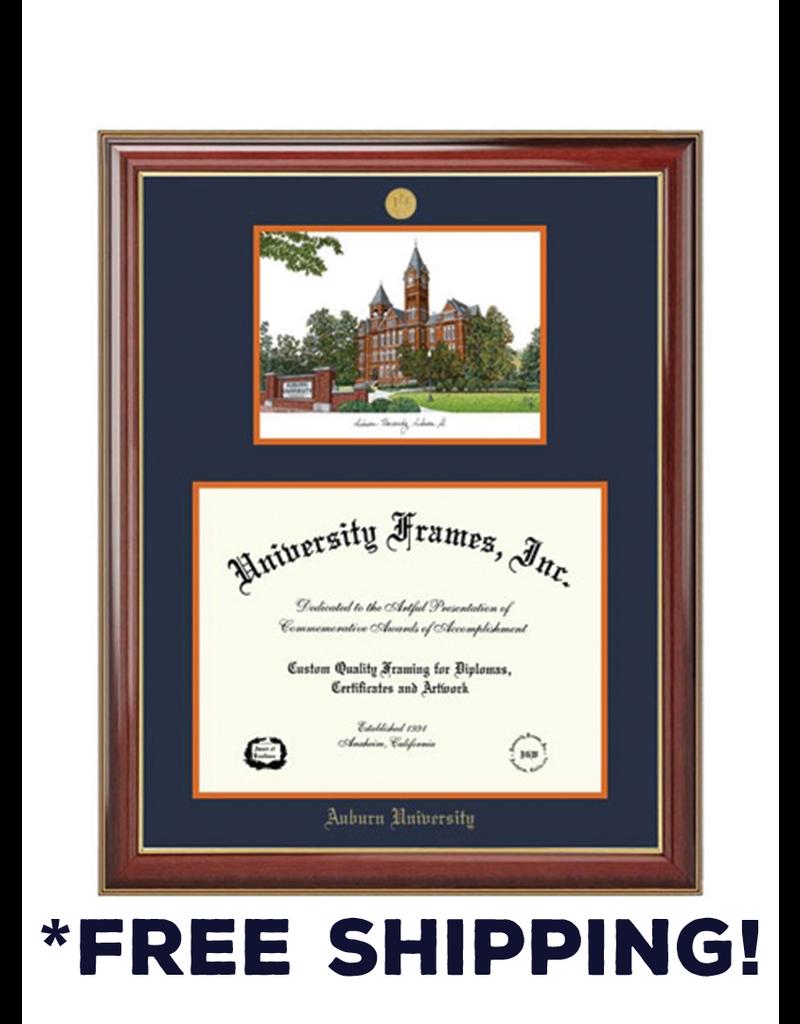 Diploma Frame C - Double Opening Classic Mahogany Gold Trim Frame Medallion - Landmark Litho