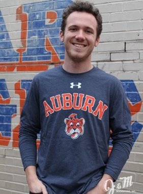 Under Armour Arch Auburn Vintage Aubie Head Legacy Triblend Long Sleeve T-Shirt