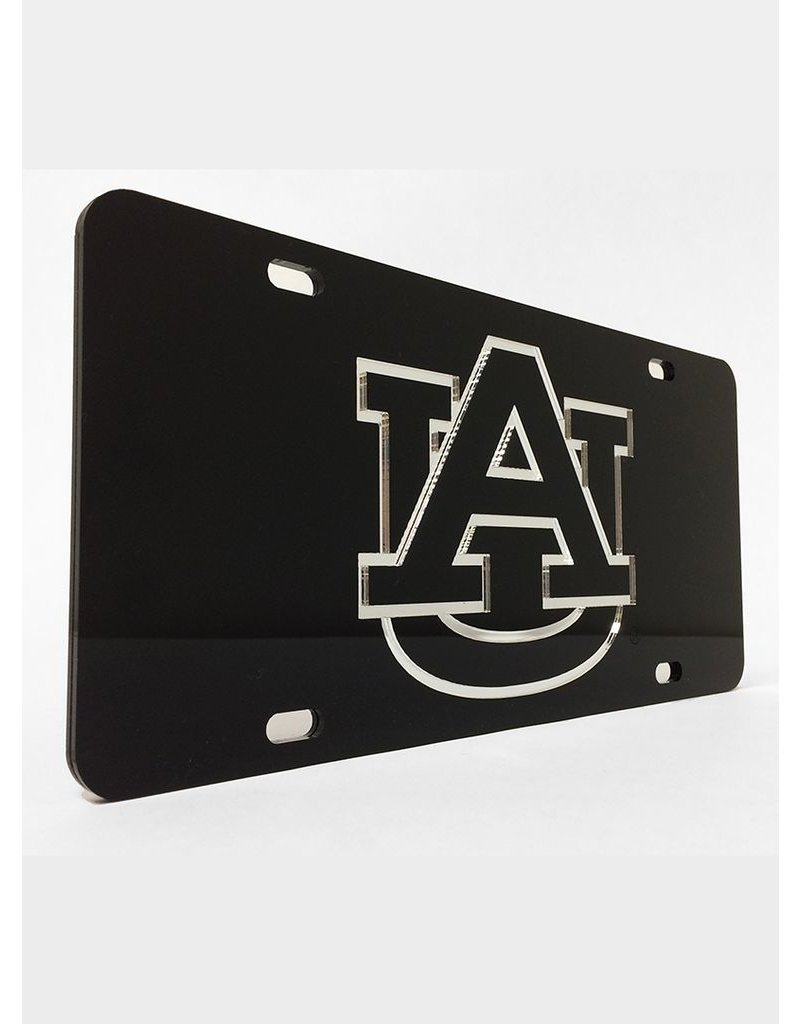 AU Silver Letters in Black Background License Plate