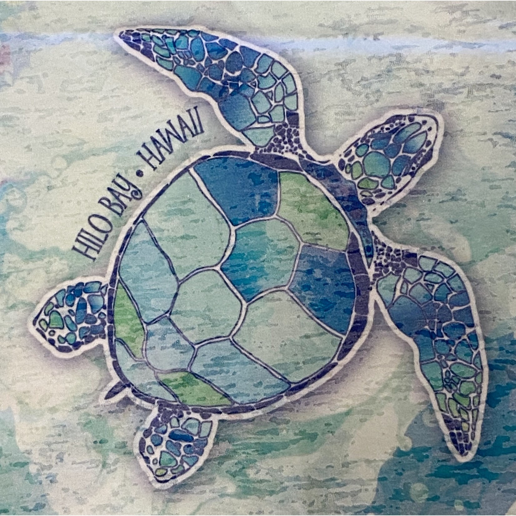 Blue 84 Eventful Sea Turtles Ladies Burnout Tank Top