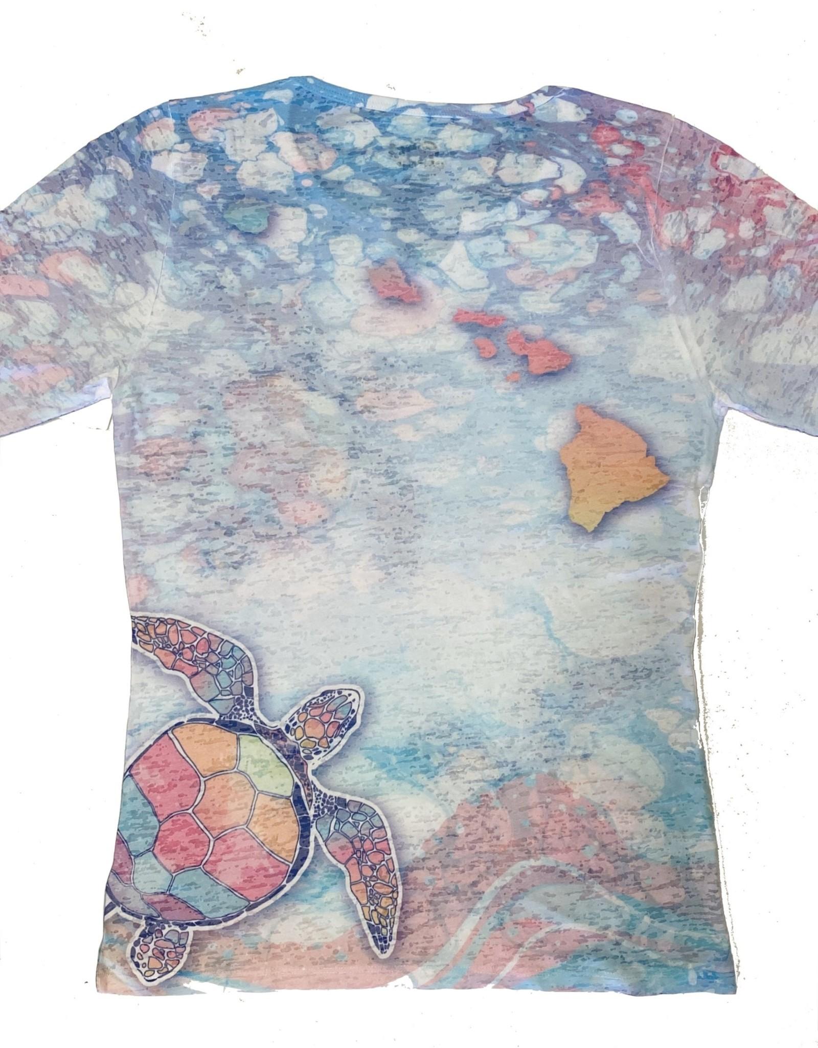 Blue 84 Eventful Turtles Turq Ladies Burnout 3/4 Sleeve T-Shirt