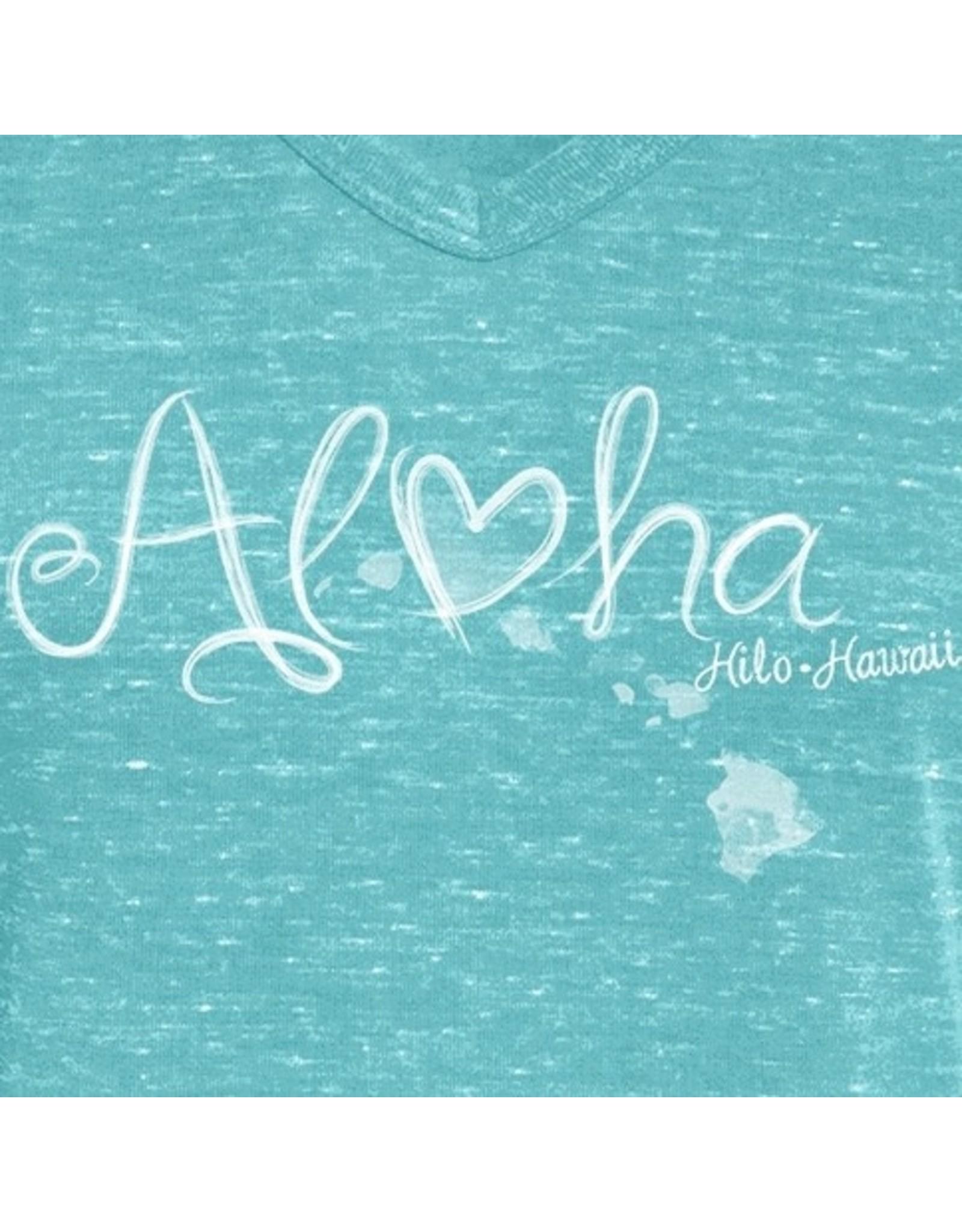 Blue 84 Fraggle Aloha HI Islands Confetti Rolled Sleeves Ladies T-Shirt