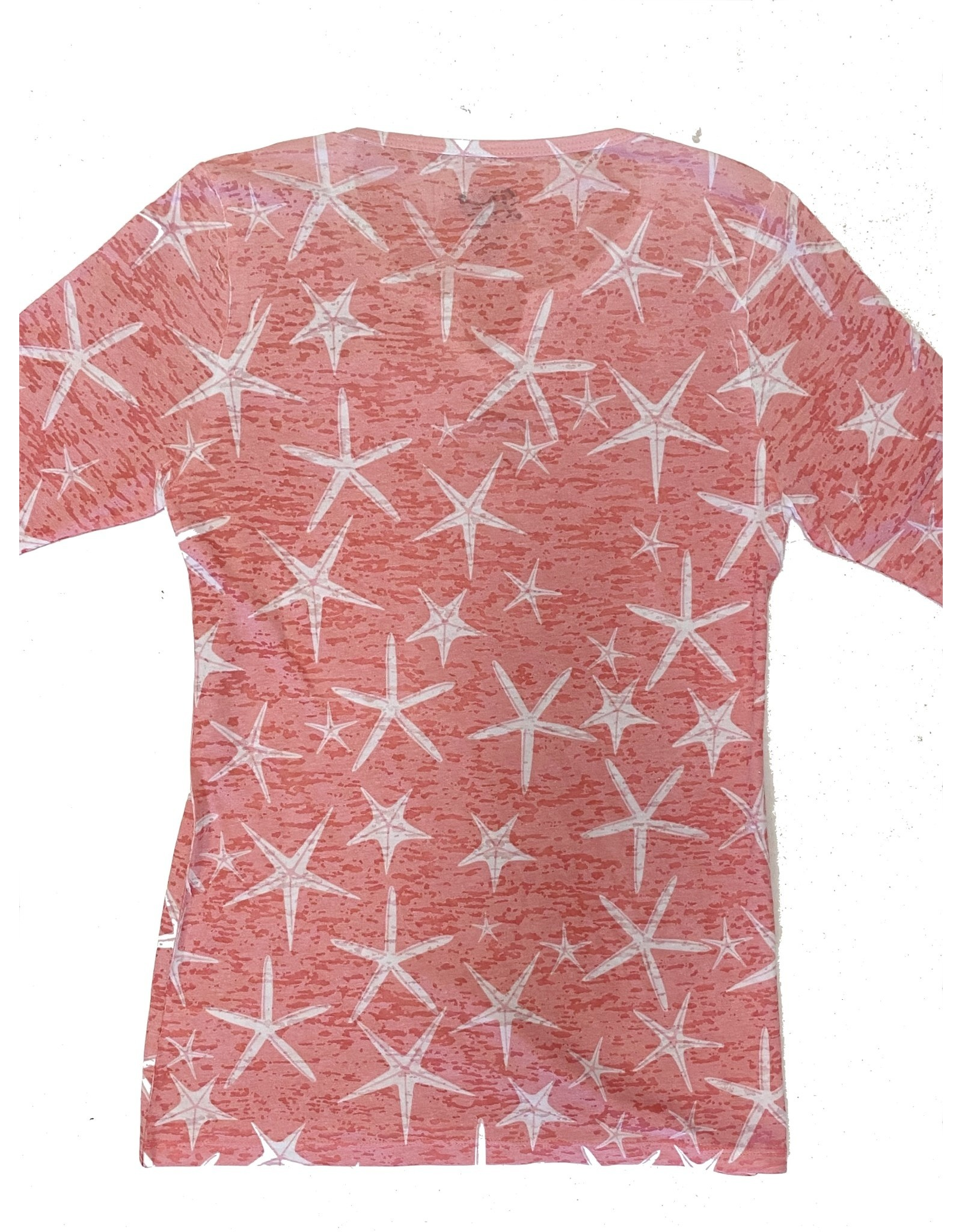 Blue 84 Get Away Star Fish Ladies Burnout 3/4 Sleeve Shirt