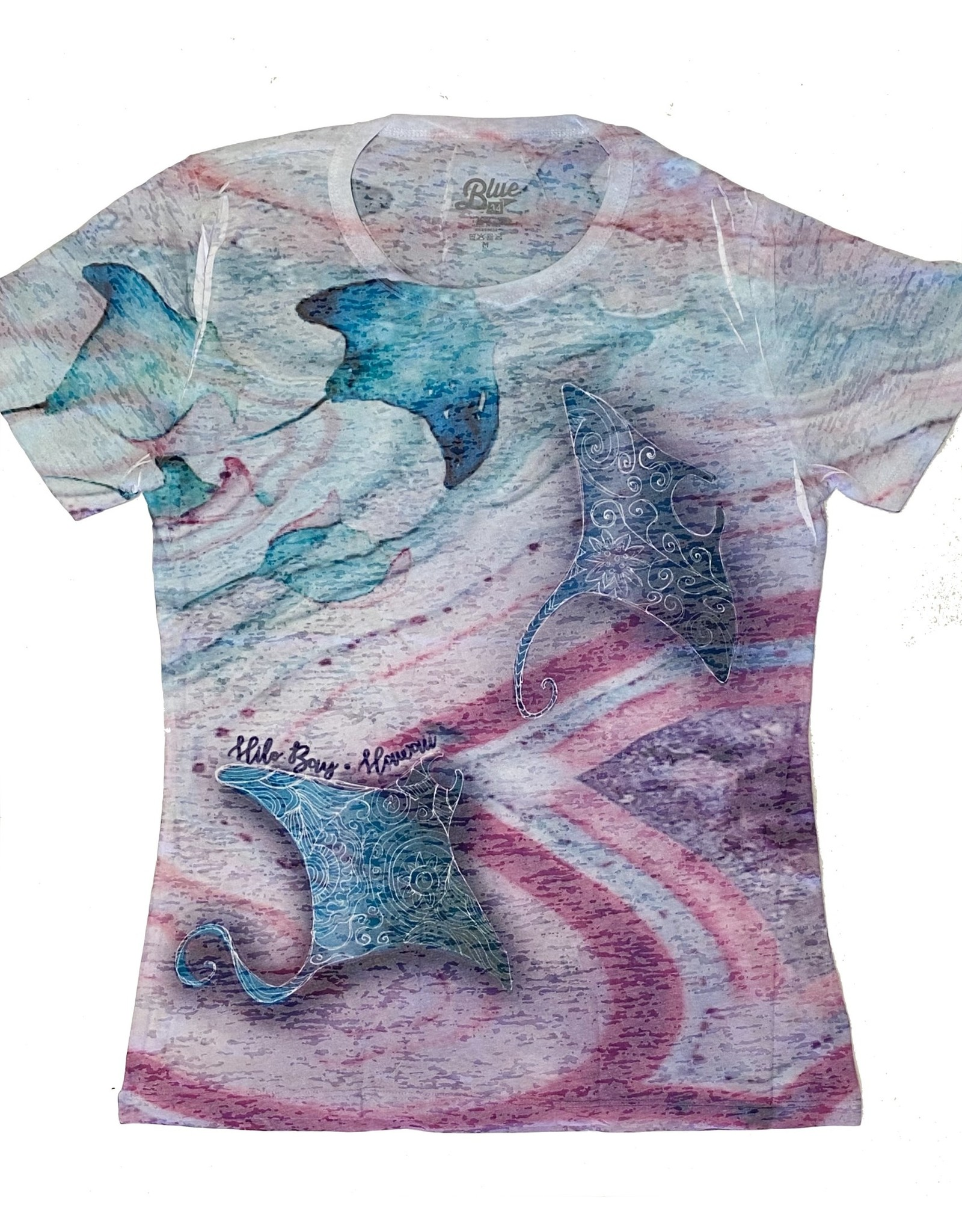 Blue 84 Gifting Manta Rays Ladies Burnout T-shirt