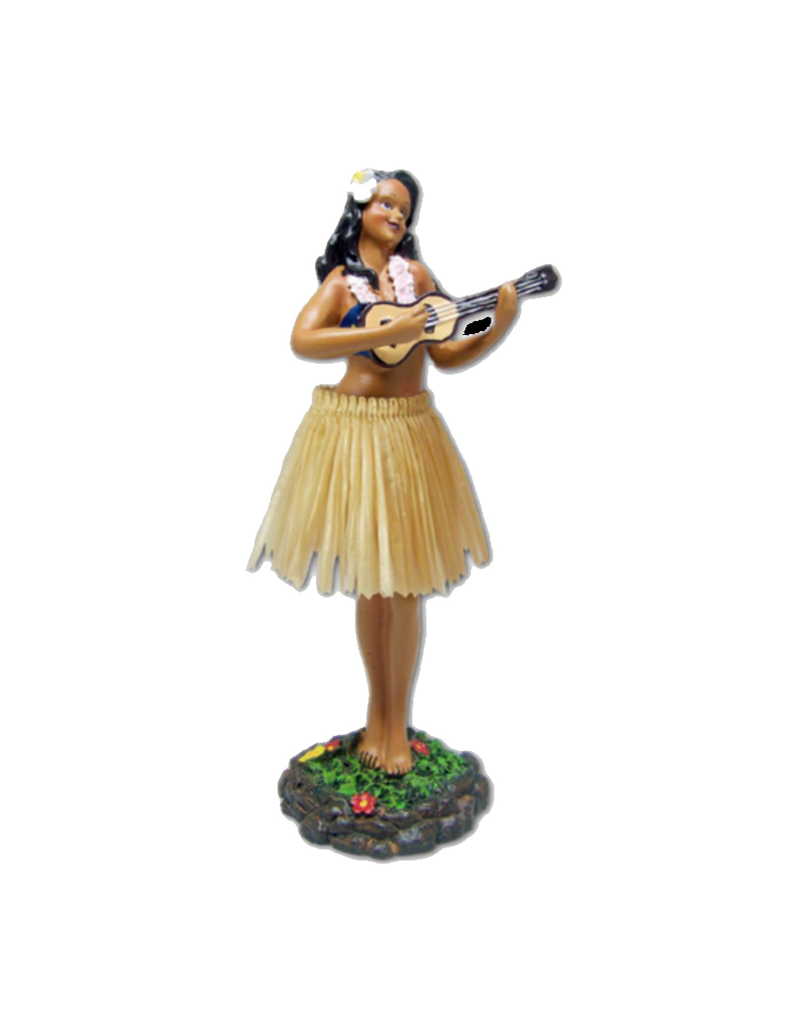 KC Hawaii Dashboard Doll Leilani Hula w/ Ukulele Natural Skirt