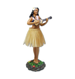 KC Hawaii Dashboard Doll Leilani Hula w/ Ukulele Natural Skirt