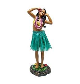 KC Hawaii Dashboard Doll Leilani Hula in Dancing Pose 2 Green Skirt