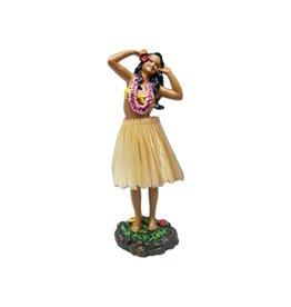 KC Hawaii Dashboard Doll Leilani Hula in Dancing Pose 2 Natural Skirt