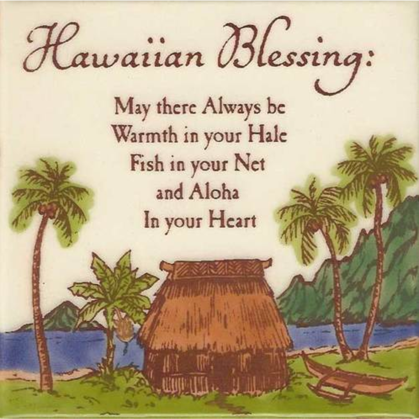 Banana Patch Studio 6x6 Handpainted Tile - Hawaiian Blessing