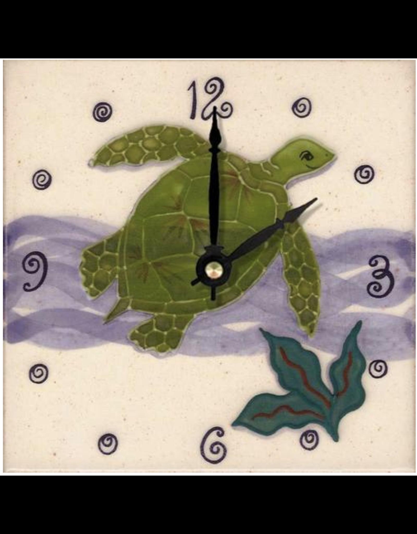 Banana Patch Studio 6x6 Handpainted Tile Clock - Honu