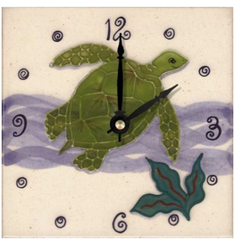 Banana Patch Studio 6x6 Handpainted Tile Clock - Honu