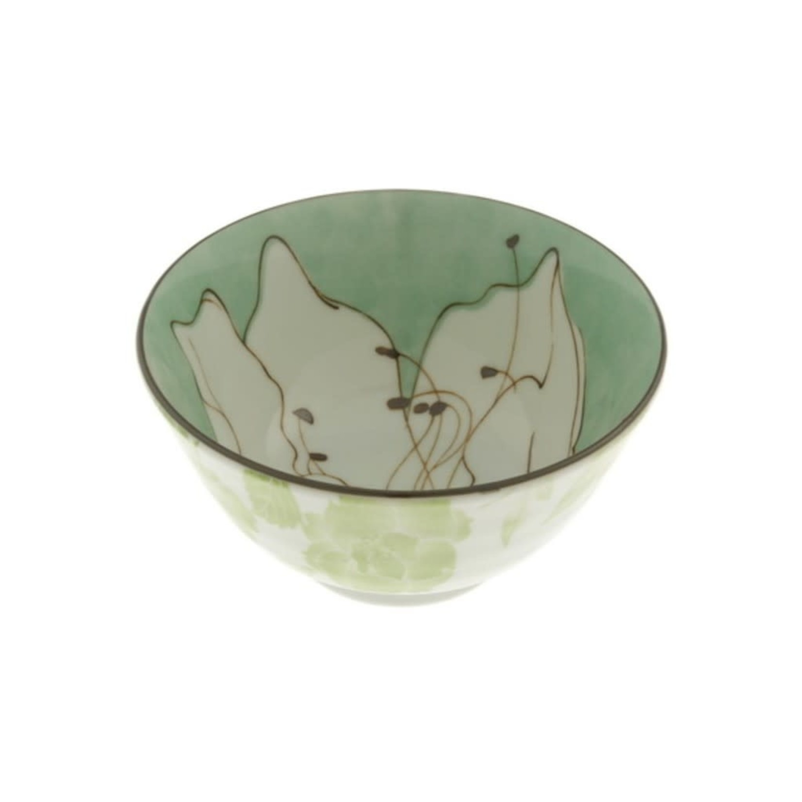 "Kotobuki Trading Co. Inc Bowl Green Azalea Sketch 5-1/4"""