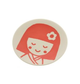 Kotobuki Trading Co. Inc Plate Red Kokeshi Girl