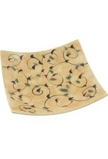 Kotobuki Trading Co. Inc Plate Square Gold/Taupe Arabesque