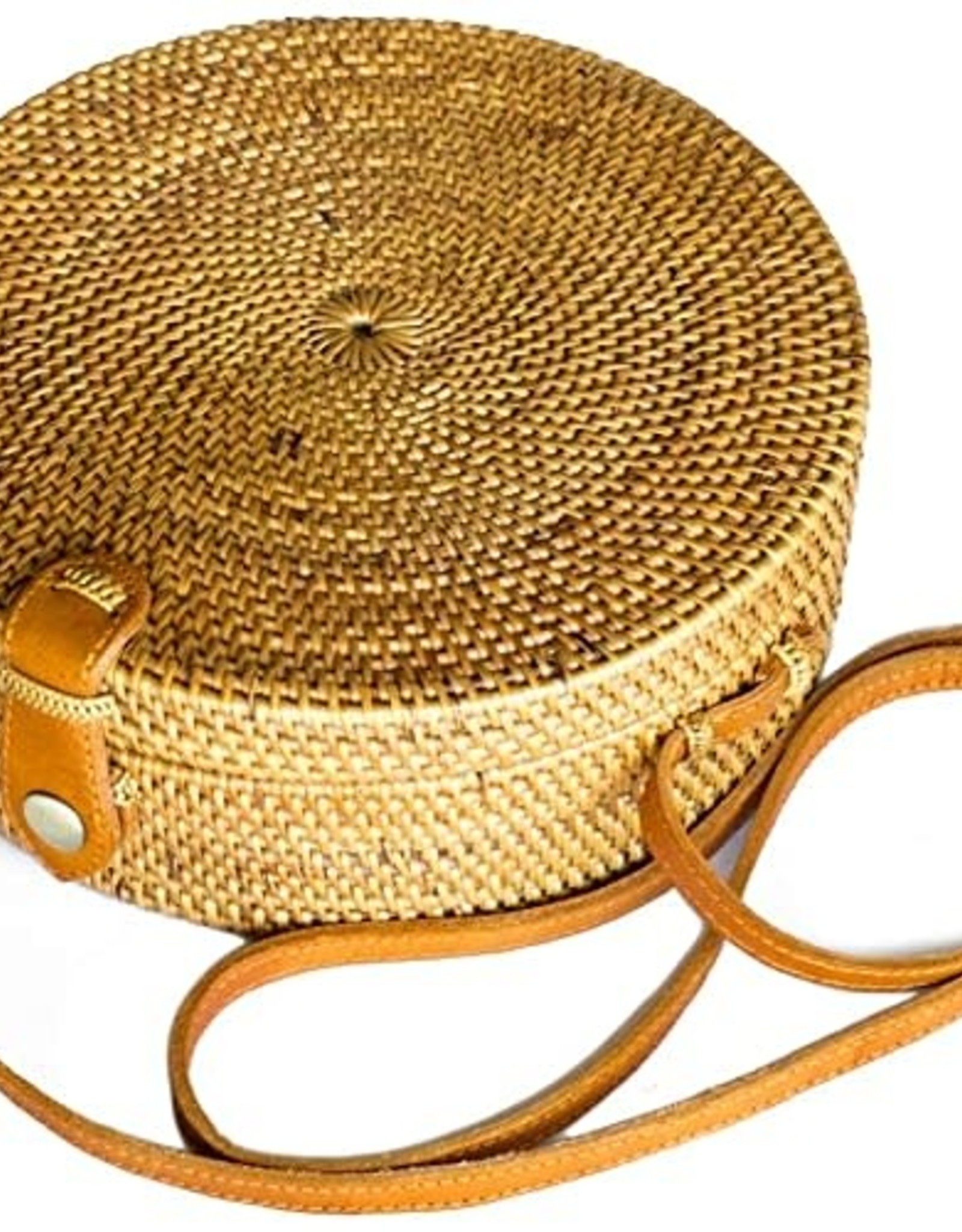Maka Imports Hand Woven Ata Vine Round Plain and Open Weave Purse