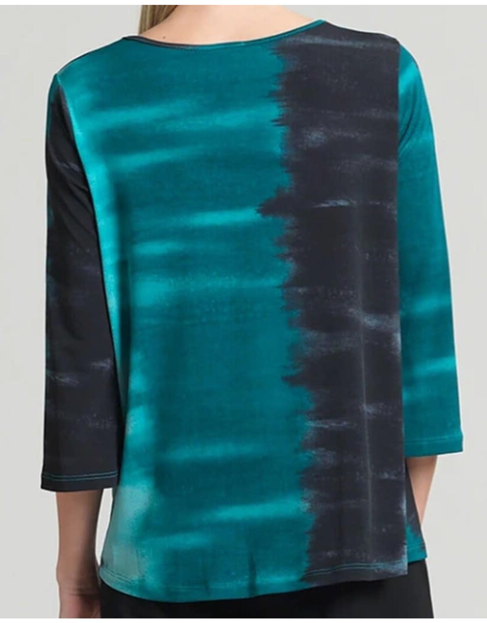 Clara Sunwoo Ombre Print Twist Hem Soft Knit Top