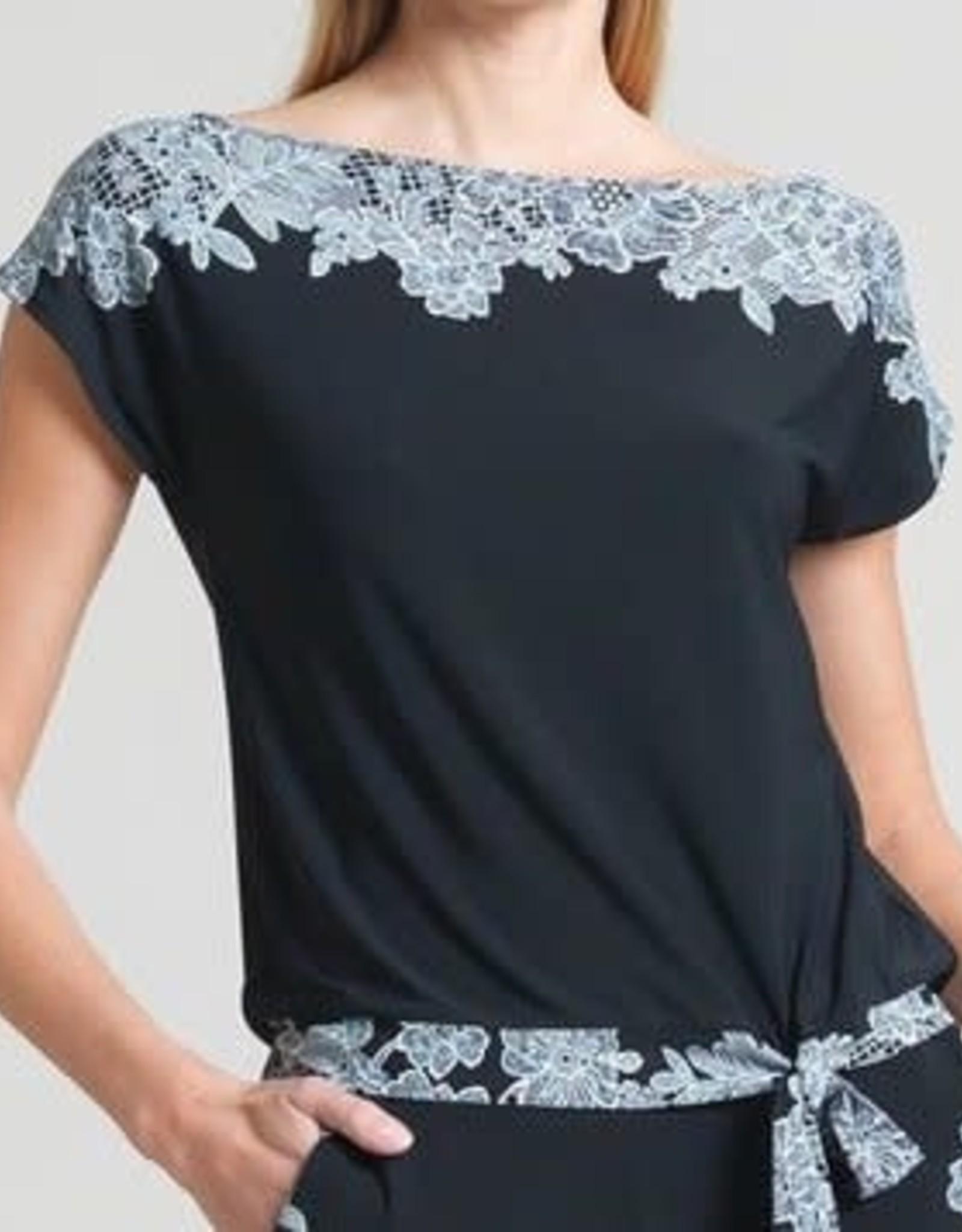 Lace Trim Print Cap Sleeve Soft Knit Blouse Top