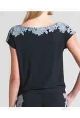 Clara Sunwoo Lace Trim Print Cap Sleeve Soft Knit Blouse Top