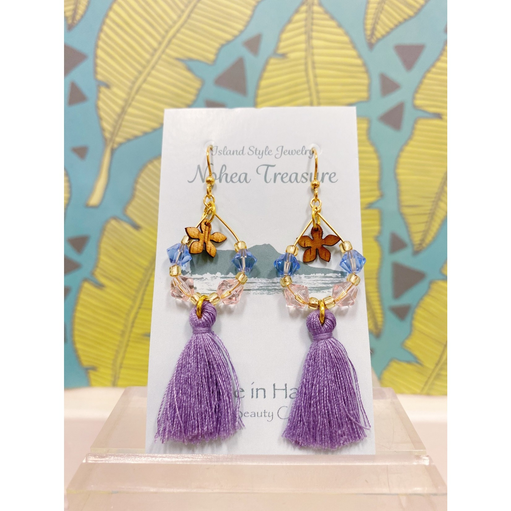Aloha Beauty Creations Nohea Treasure Accessories Earrings Plumeria/Tassels