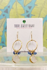 Midori Jewelry Blue Depths White Druzy Bezel Blue Kyanite Hoop Earrings