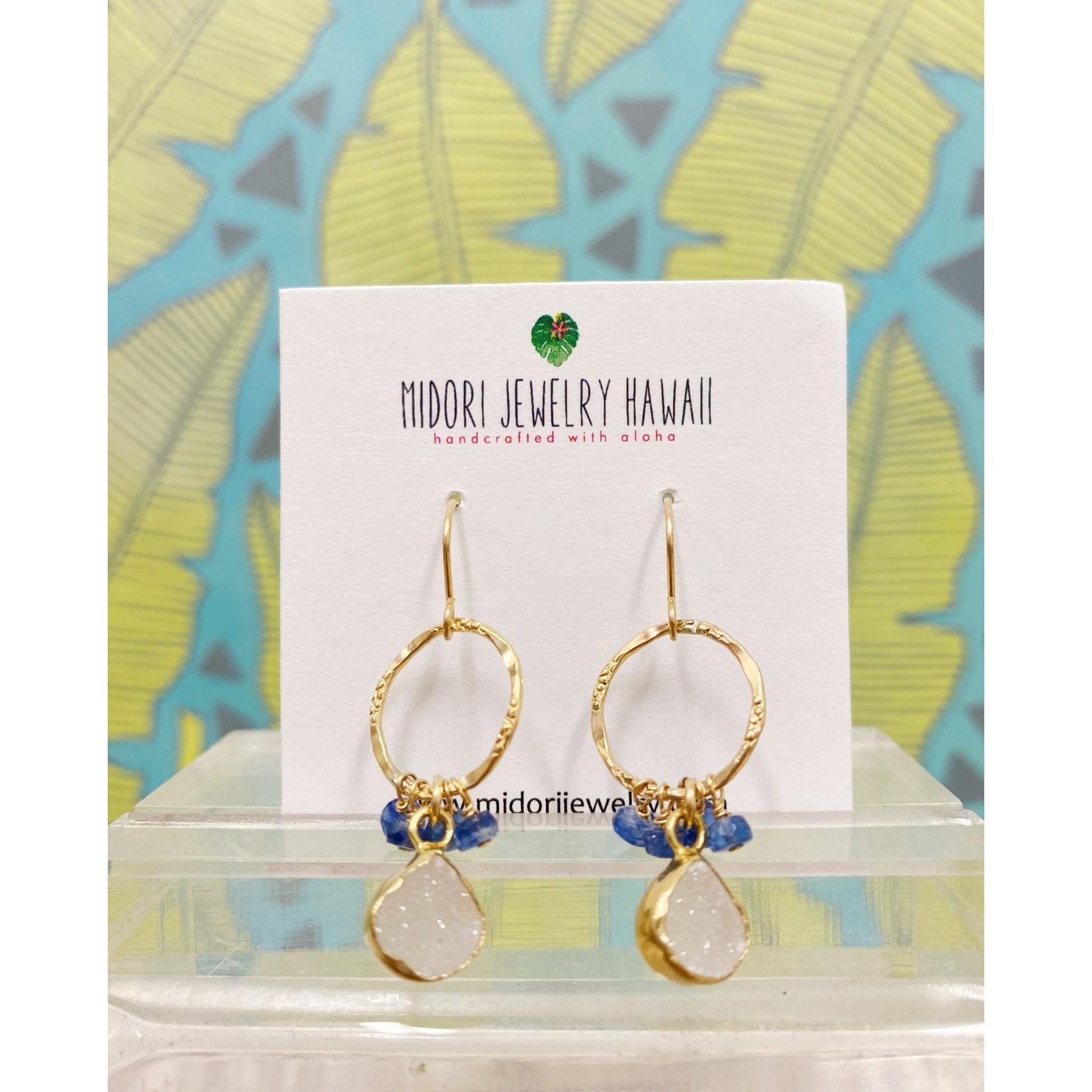 Midori Jewelry Blue Depths White Druzy Bezel Blue Kyanite Hoop Earrings