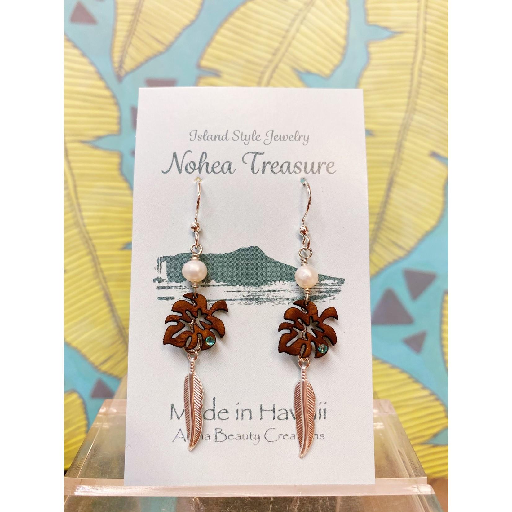 Aloha Beauty Creations Nohea Treasure Accessories Earrings Monstera/Feather