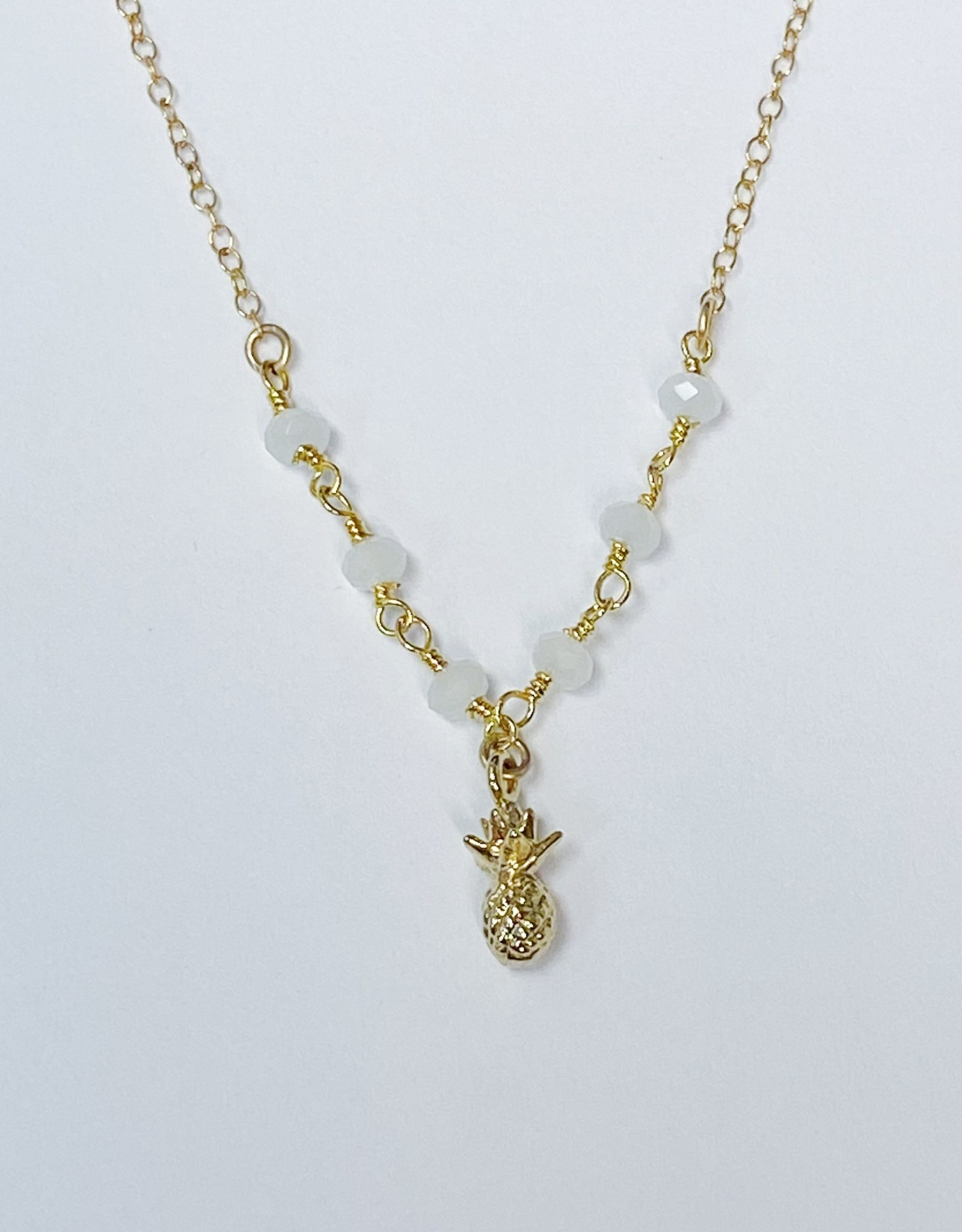 Komakai Jewelry Sydney Necklace - GF, White Chalcedony, 18k gold plated pineapple