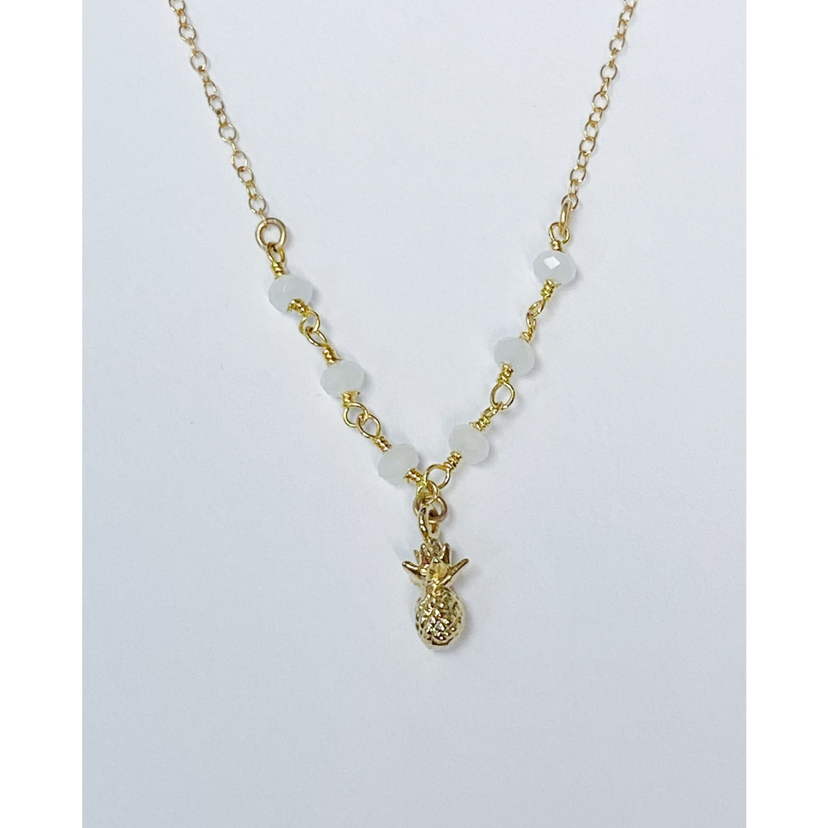 Komakai Jewelry Sydney Necklace - GF, White Chalcedony, 18k gold plated pineapple