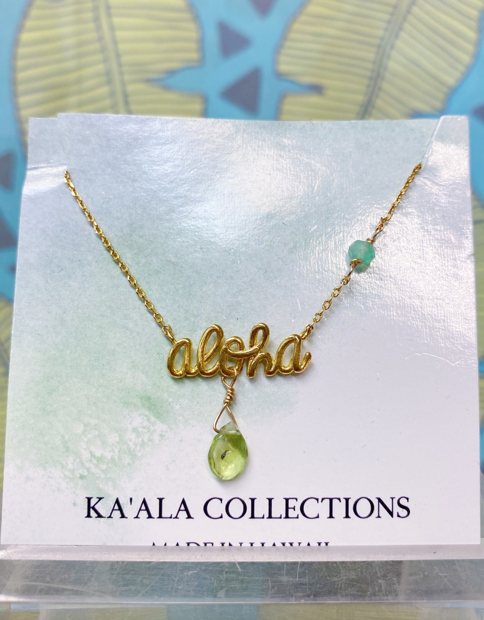 Necklace Cursive Aloha Peridot