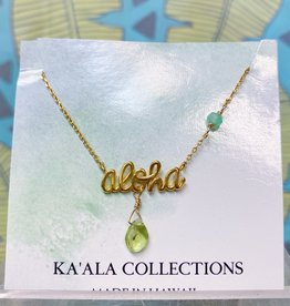 Necklace Cursive Aloha Peridot