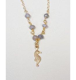 Komakai Jewelry Sydney Necklace - Labradorite + Seahorse