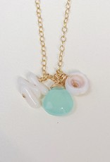 Komakai Jewelry Paia Necklace 14k GF, aqua chalcedony, bamboo coral, puka shell