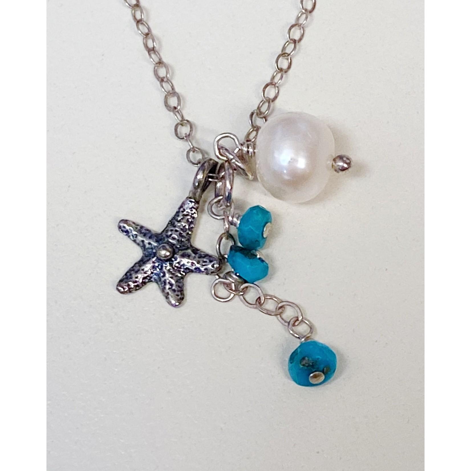 Midori Jewelry SS Starfish Sleeping Beauty Turquoise FW Pearl Necklace