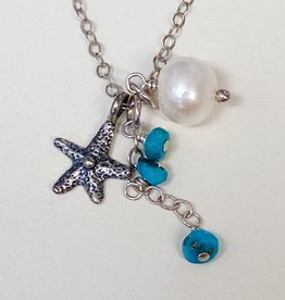 Midori Jewelry SS Starfish Sleeping Beauty Turquoise FW Pearl Necklace