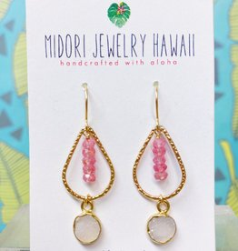 Midori Jewelry Pink Lemonade -- White Druzy Gold Bezel Pink Topaz Teardrop Earrings