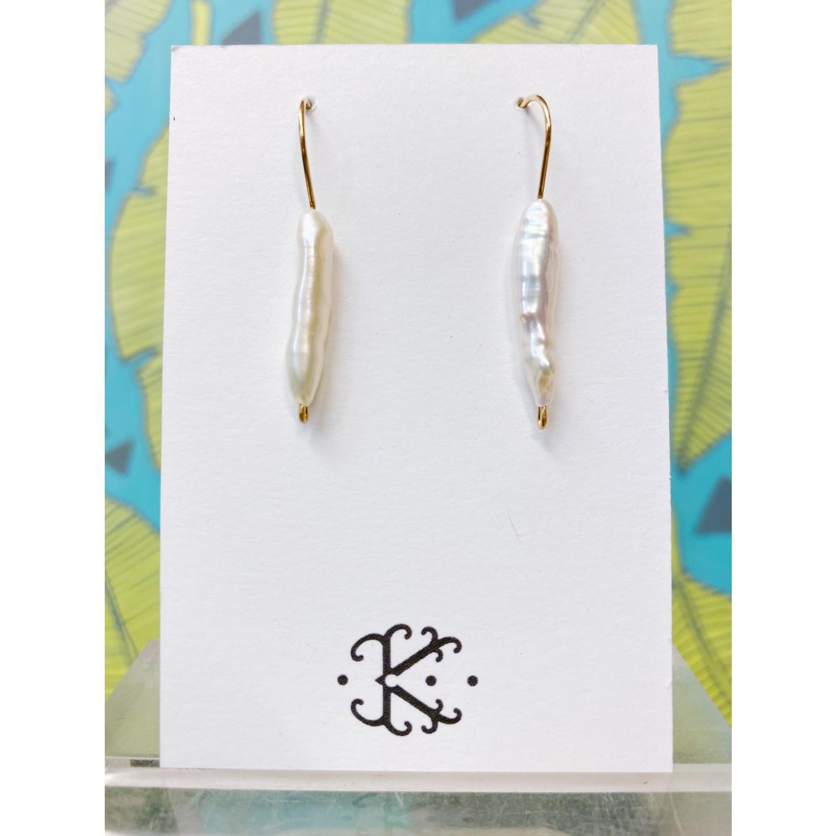 Kirsten Merrill Jewelry E113GF Aloha Casual Pearl Spike Earrings GF
